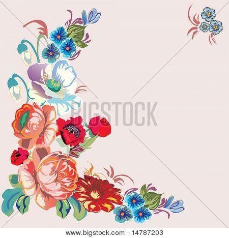 illustration with color floral frame on pink background