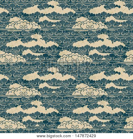 seamless vector hand drawn traditional japanese cloud pattern