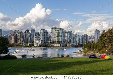 Vancouver, Canada - September 18, 2016. False Creek And Downtown