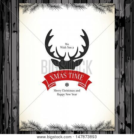 Christmas and New Year. Vector greeting card with reindeer