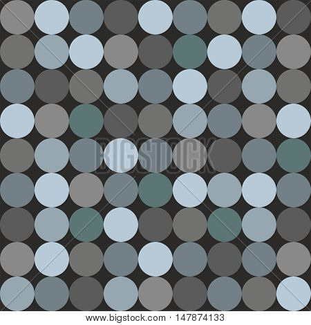 Tile vector pattern with big blue and grey polka dots on black background
