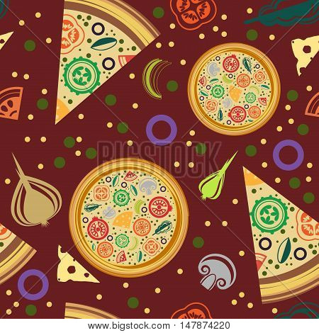Vector seamless pattern of round pizza pizza slices. Claret background with slices of vegetables