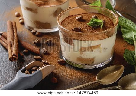 Traditional Italian Cuisine. Dessert Chocolate Tiramisu, Mint. C