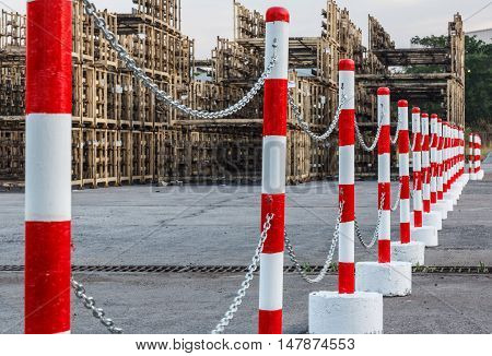 The Red white pylons Alerts traffic warning.