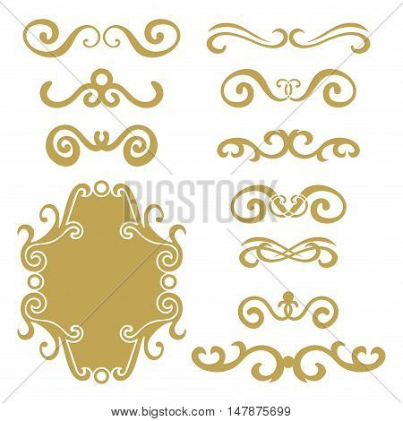 Set of gold abstract curly headers, design element set isolated on white background. Hand drawn golden swirls. Floral round frame, wreath, dividers, calligraphic shapes. Vector illustration.