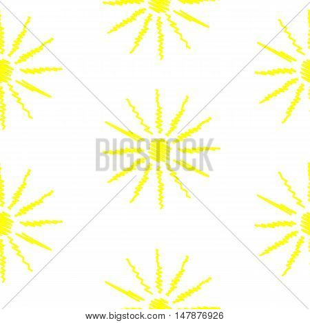 Seamless pattern with sun in sketch style on white background