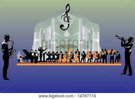 illustration with large orchestra on dark background