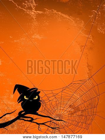 Spider web and black cat silhouette against orange wall - halloween theme spooky background with place for your text