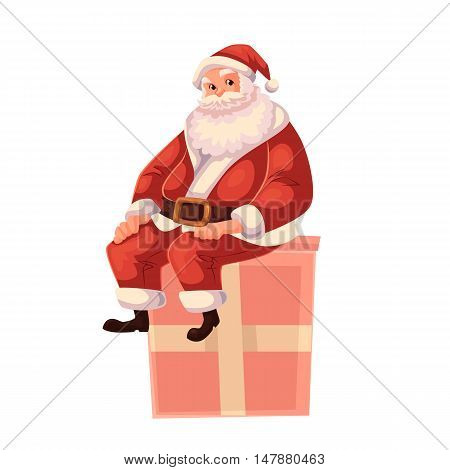 Santa Claus sitting on a Christmas gift box, cartoon style vector illustration isolated on white background. Full length portrait of Santa sitting on a present box, Christmas decoration element