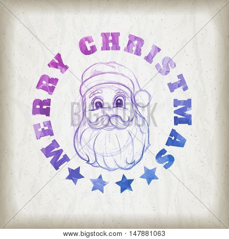 Sketch style Santa Claus portrait illustration and Merry Christmas message on wrinkled paper background. Christmas greeting card design.