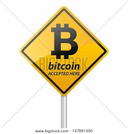 Bitcoin Accepted Here Sign on white background