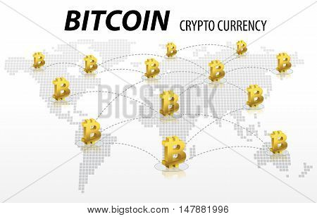 Bitcoin Electronic Crypto Currency Transaction Concept background