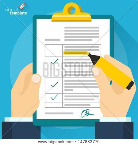 Man hands filling form. Hand holding tax form, insurance claim and flat pen. Creative flat design vector concept for web banners, web sites, infographics.