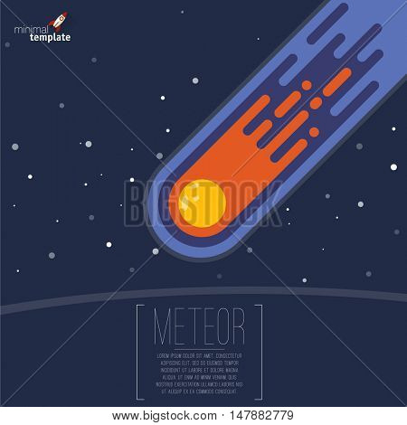 Flame meteorite icon. Flat design cartoon vector template.
