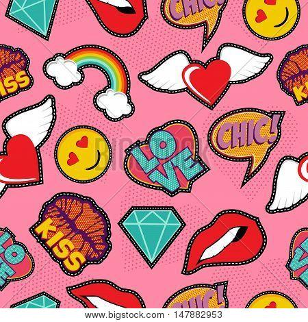 Pink Pop Art Stitch Patch Seamless Pattern