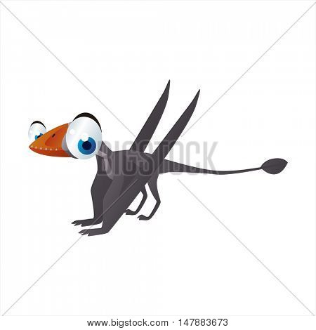 Vector funny cartoon Pterosaur image. Flying dinosaur or pterodactyl