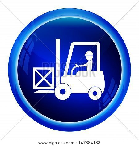 Driver with forklift and crate symbol icon vector illustration