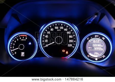 Night time close up of car dashboard
