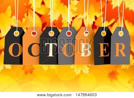 October tag on colored hanging labels isolated on orange background 3D render