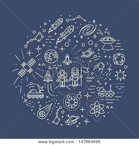 Space vector outline symbols. Vector line illustration