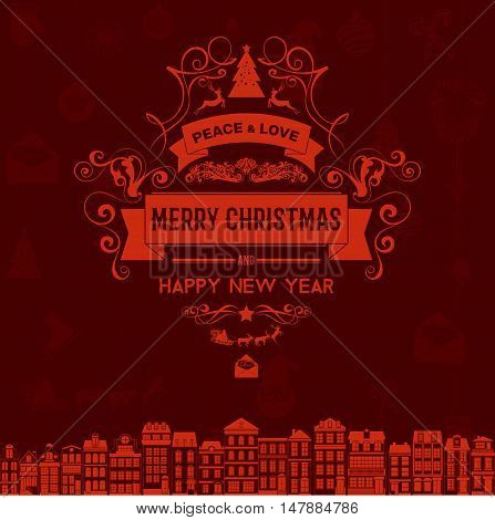 Vintage retro flat style trendy Merry Christmas card and New Year wish greeting. Vector illustration with pale white inscription on dark red carmine background for wallpaper, magazine