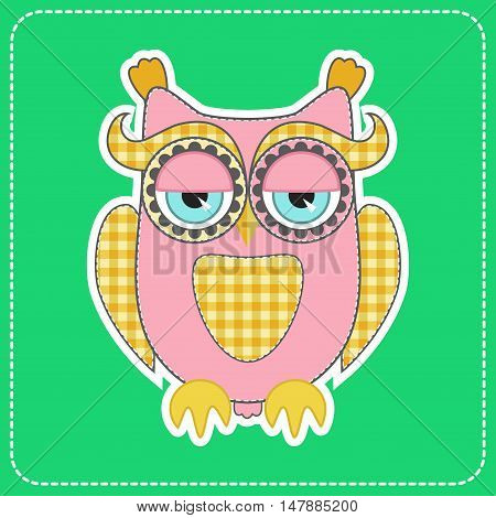 Cute wise sleepy pink childish owl character on green background