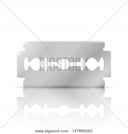Razor blade realistic 3d object with reflection front view 3d vector illustration isolated on white background eps 10