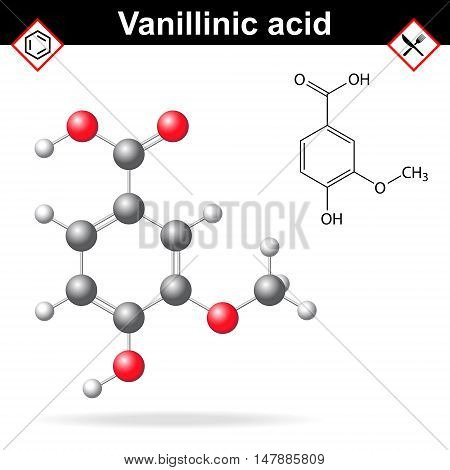 Vanillic acid molecule flavoring agent chemical formula and molecular structure 2d and 3d vector illustration isolated on white background eps 8