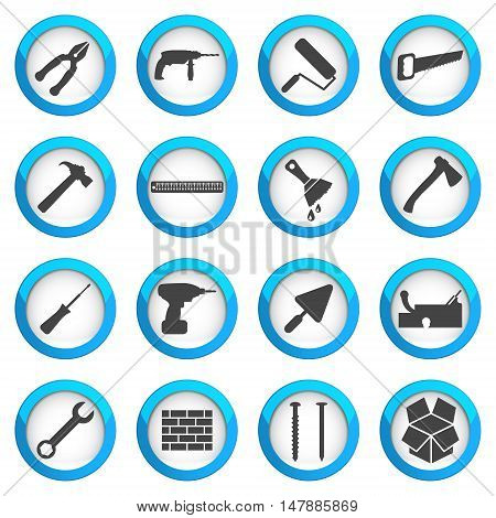Home repair and renovation icon set building and construction concept 16 vector signs on dark round buttons eps 10