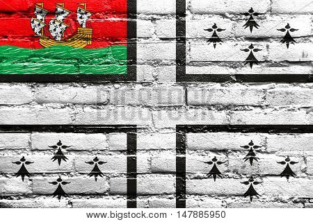 Flag Of Nantes, France, Painted On Brick Wall