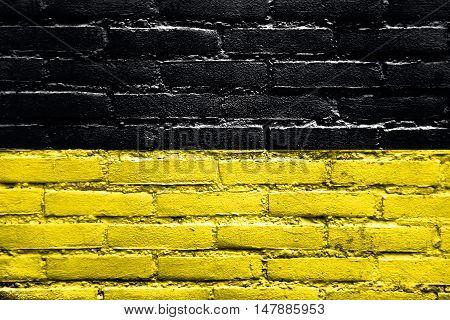 Flag Of Namur, Wallonia Region, Belgium, Painted On Brick Wall