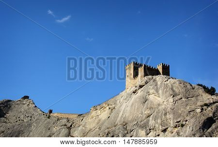 Ancient consular castle. Genoese fortress. Sudak Crimea Ukraine territory temporarily occupied by Russia.