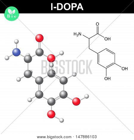 L-dopa neurotransmitter precursor chemical structure 2d and 3d vector illustration of molecular structure and chemical model isolated on white background eps 8