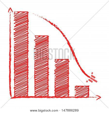 Chart sales fall with arrow like ship pencil style 2d business vector on white background eps 8