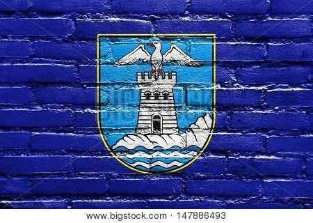 Flag Of Opatija, Croatia, Painted On Brick Wall