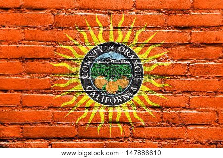 Flag Of Orange County, California, Usa, Painted On Brick Wall