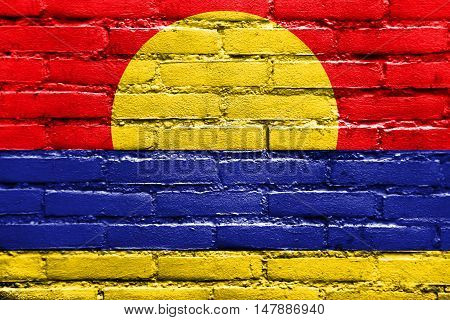 Flag Of Palmyra Atoll (unofficial), Painted On Brick Wall