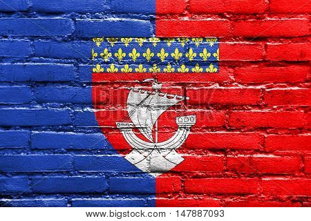 Flag Of Paris With Coat Of Arms (escutcheon Only), France, Painted On Brick Wall