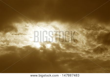 amazing golden clouds on the sky beautiful  lit by the sun