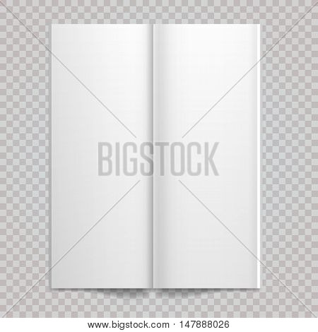 Isolated white paper Vector white blank spread on white background. Open double-page spread with blank pages.