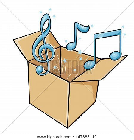 Vector Cartoon Box With Music