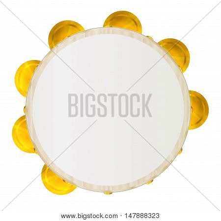 A typical traditional musical tambourine set over a white background