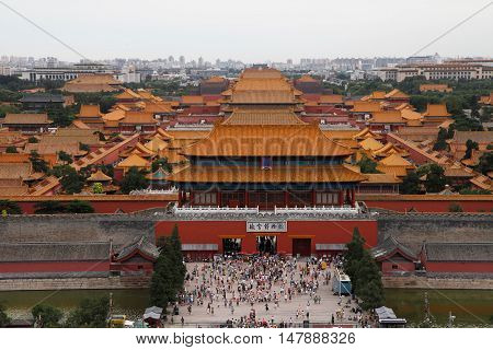 Top view on Forbidden city in Bejing China