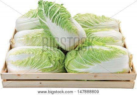 Green letucce in a box raw food background vegetables