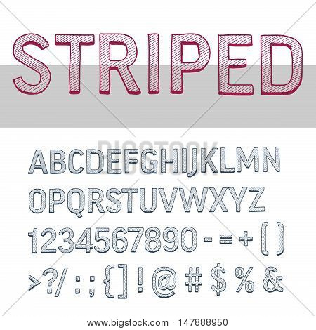decorative upper case striped alphabet letters, high detailed vector set