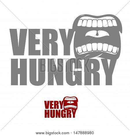 Very Hungry. Open Mouth With His Lips. Logo For Empty. Man Chewing Food