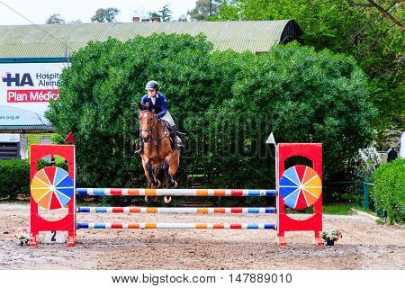 Young Woman Racing On His Horse In A Show Jumping At The Club Hipico Argentino. September 17, 2016: