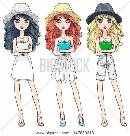 Vector set of beautiful fashionable girls in hats with long curly hair