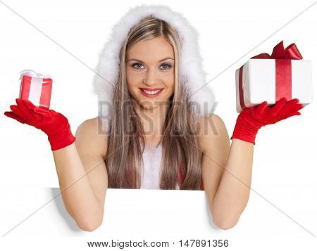 Santa's Helper with Gifts from Behind Invisible Wall - Isolated