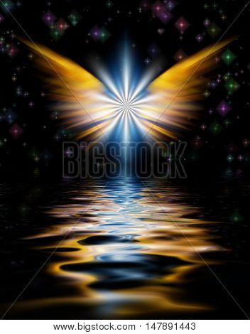 Shining Angel Wings above water surface. 3D Render